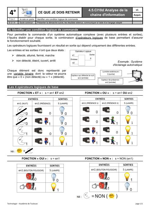 04 synth se programmation sa op rateurs logiques for Porte logique pdf